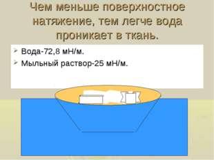 Чем меньше поверхностное натяжение, тем легче вода проникает в ткань. Вода-72