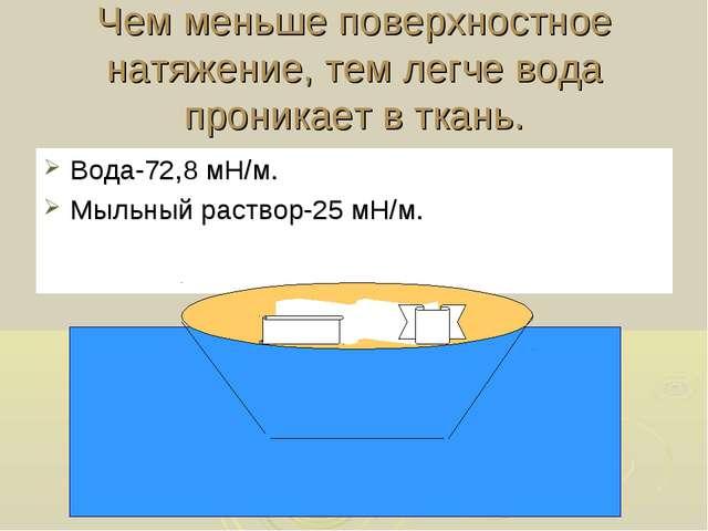 Чем меньше поверхностное натяжение, тем легче вода проникает в ткань. Вода-72...