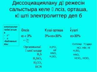 Диссоциациялану дәрежесін салыстыра келе әлсіз, орташа, күшті электролиттер д