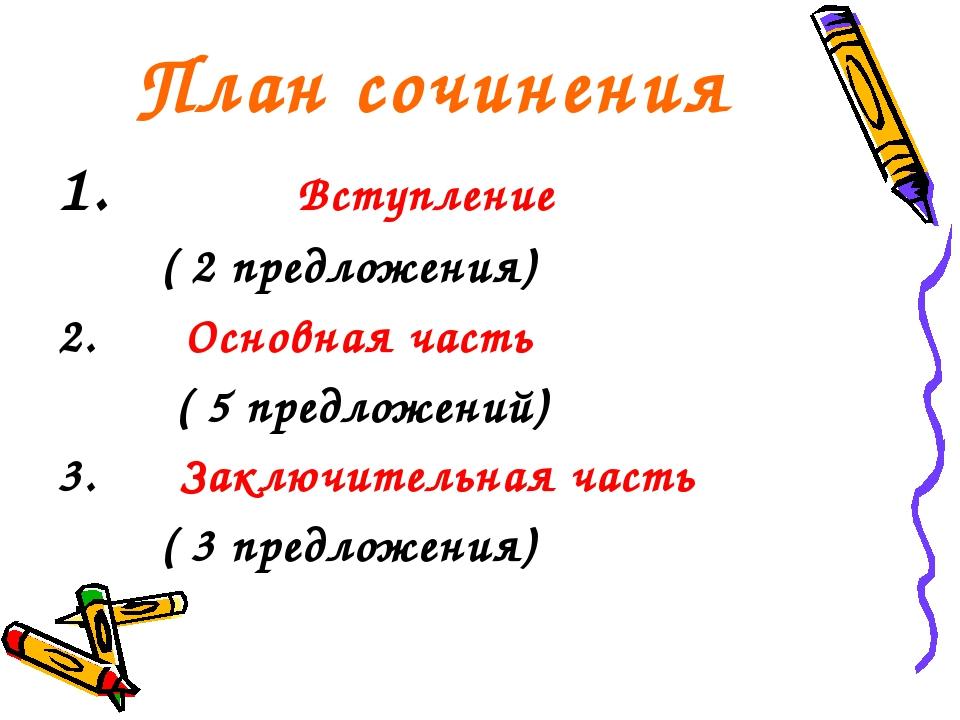План сочинения Вступление ( 2 предложения) 2. Основная часть ( 5 предложений)...