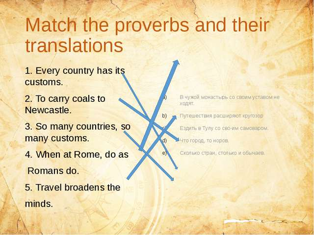 Match the proverbs and their translations 1. Every country has its customs....