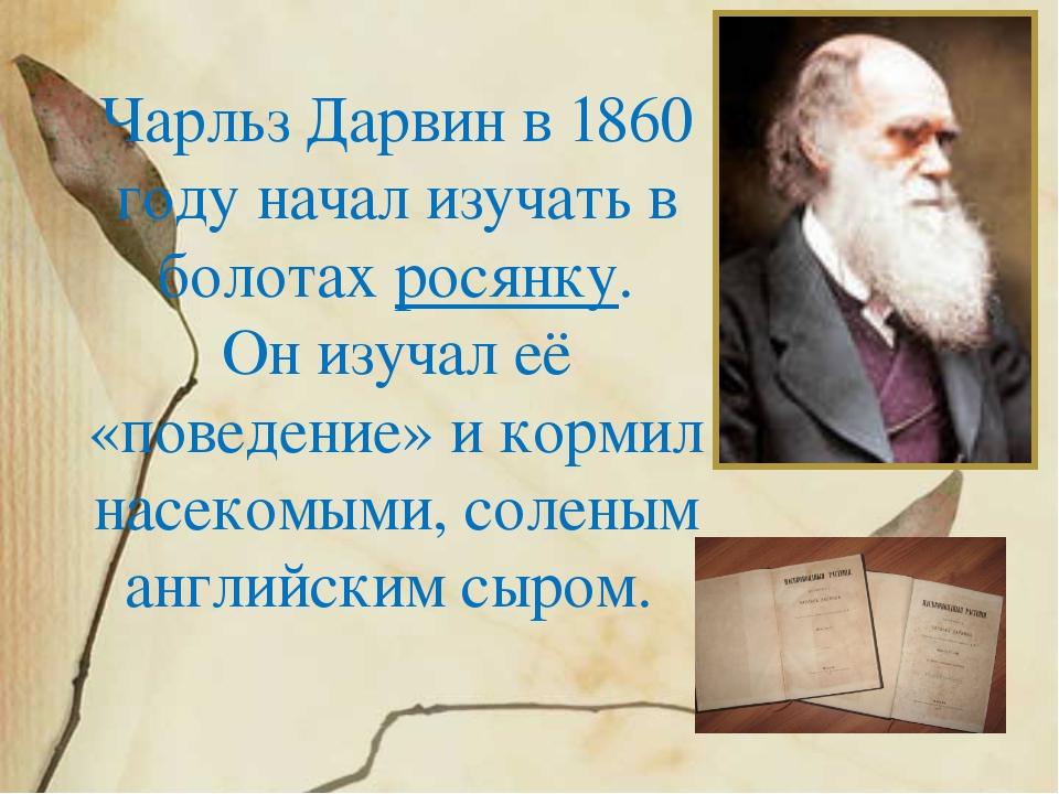 Чарльз Дарвин в 1860 году начал изучать в болотах росянку. Он изучал её «пове...