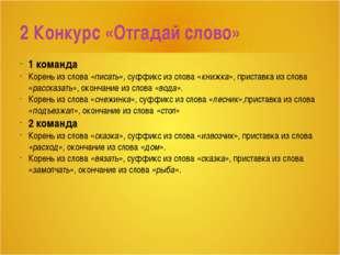 1 команда Корень из слова «писать», суффикс из слова «книжка», приставка из с