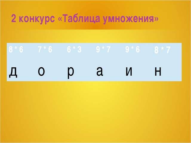 2 конкурс «Таблица умножения» 8 * 6 7 * 6 6 * 3 9 * 7 9 * 6 8 * 7 д о р а и н