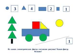 Из каких геометрических фигур составлен рисунок? Каких фигур больше? 33 4 2