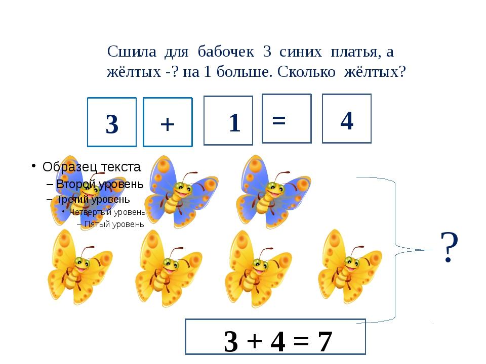 Сшила для бабочек 3 синих платья, а жёлтых -? на 1 больше. Сколько жёлтых? 3...