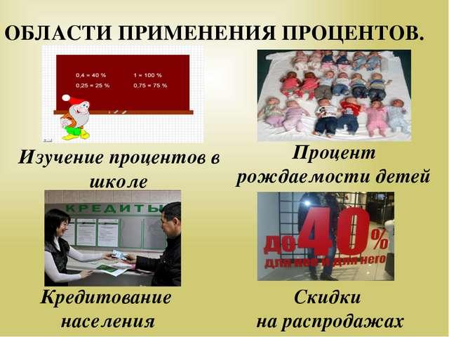 Кредитование населения Изучение процентов в школе Скидки на распродажах Проц...
