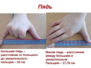 Пядь Малая пядь – расстояние между большим и указательным Пальцем – 17,78 см