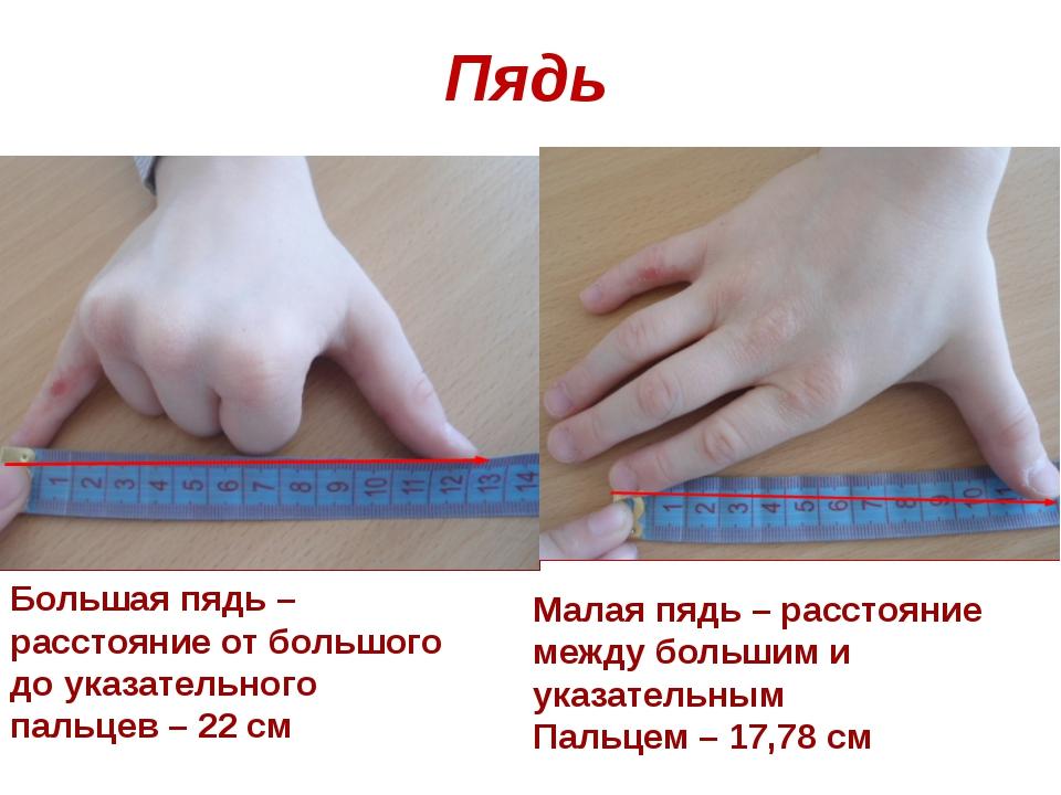 Пядь Малая пядь – расстояние между большим и указательным Пальцем – 17,78 см...