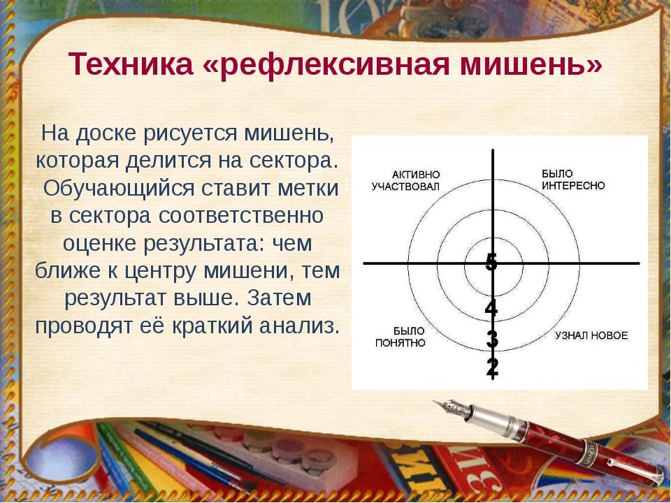 Техника «рефлексивная мишень» На доске рисуется мишень, которая делится на се...