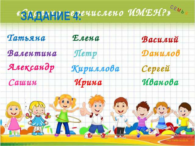 «Сколько перечислено ИМЕН?» ЗАДАНИЕ 4: Татьяна Валентина Александр Сашин Елен...