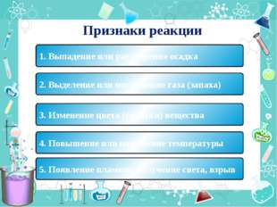 Признаки реакции 1. Выпадение или растворение осадка 2. Выделение или поглоще