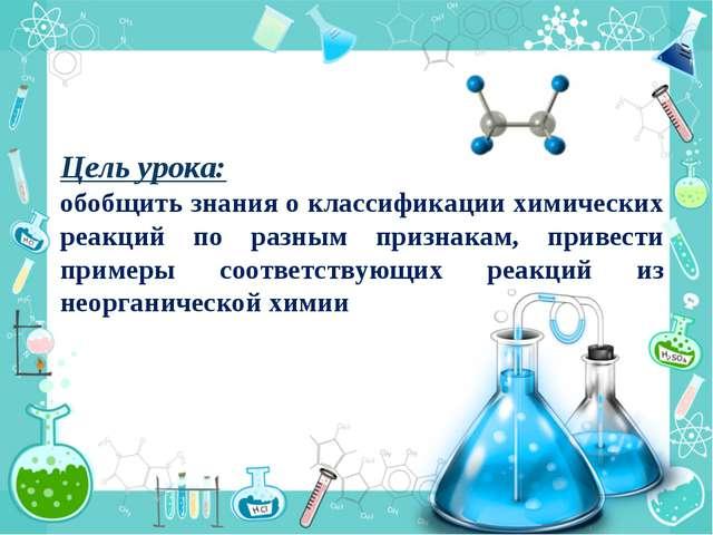 Цель урока: обобщить знания о классификации химических реакций по разным приз...