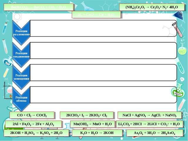 Ba(HCO3)2 → BaCO3 + CO2 + H2O H2 + CuO → Сu + H2O Li2CO3 + 2HCI → 2LiCI + CO2...