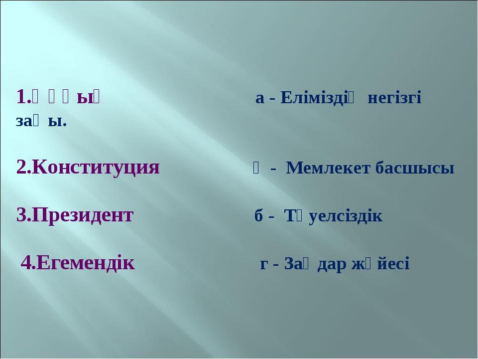 1.Құқық а - Еліміздің негізгі заңы. 2.Конституция ә - Мемлекет басшысы 3.Пре...