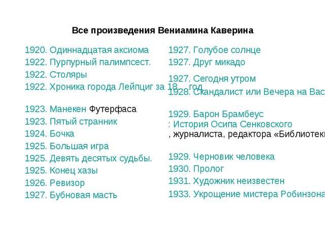 Все произведения Вениамина Каверина