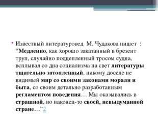 """Известный литературовед М. Чудакова пишет : """"Медленно, как хорошо закатанный"""