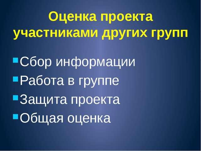 Оценка проекта участниками других групп Сбор информации Работа в группе Защит...