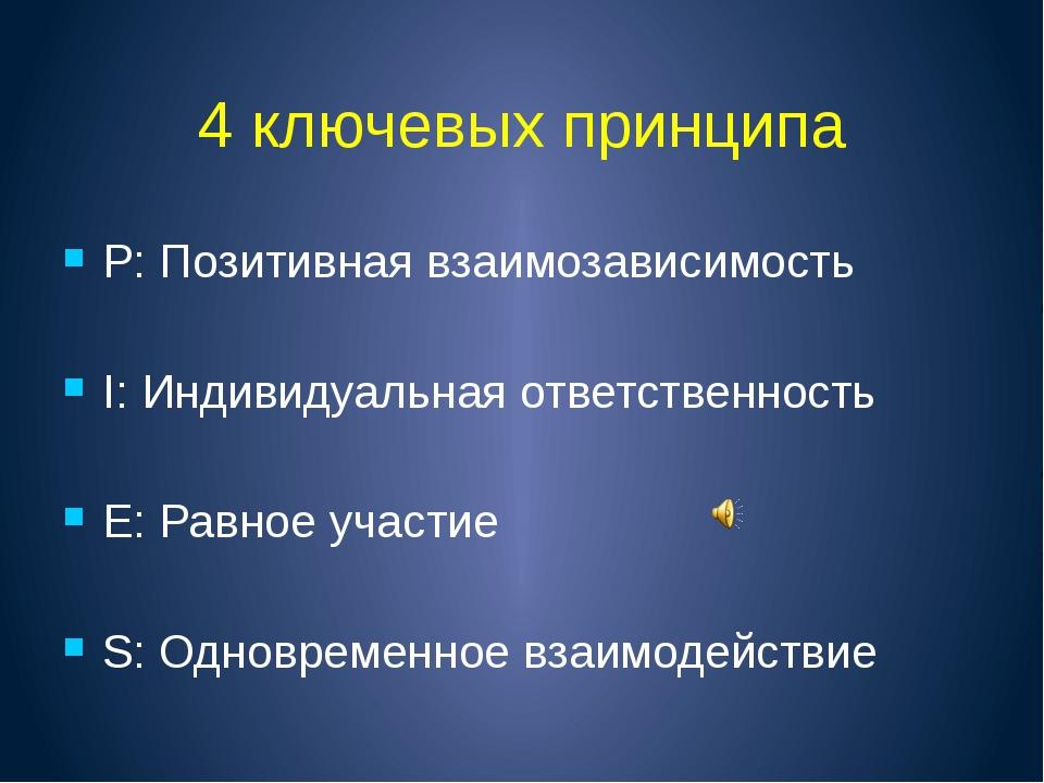 4 ключевых принципа P: Позитивная взаимозависимость I: Индивидуальная ответст...