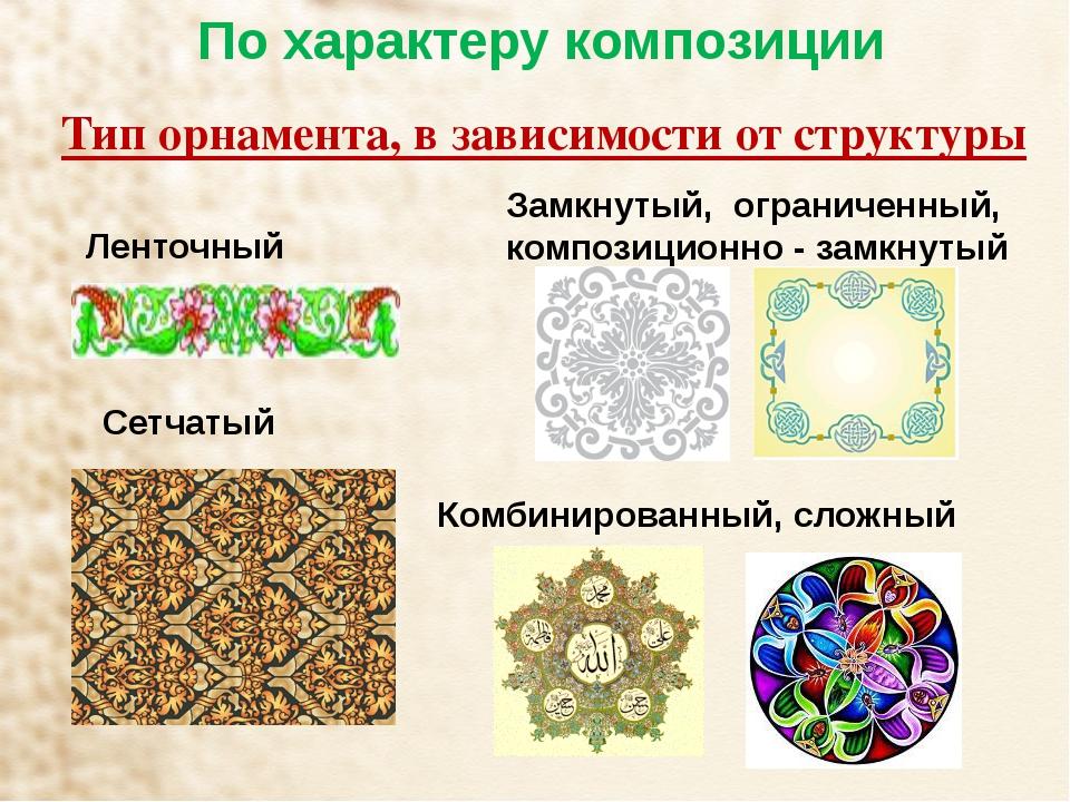 По характеру композиции Тип орнамента, в зависимости от структуры Ленточный...