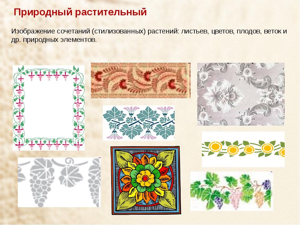 Природный растительный Изображение сочетаний (стилизованных) растений: листье...