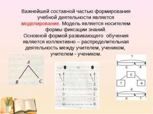 Важнейшей составной частью формирования учебной деятельности является моделир