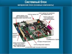 Системный блок микропроцессор Микропроцессор (проще - процессор) — центральн
