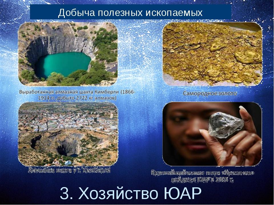 3. Хозяйство ЮАР Добыча полезных ископаемых