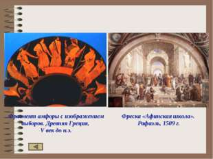 Фрагмент амфоры с изображением выборов. Древняя Греция, V век до н.э. Фреска