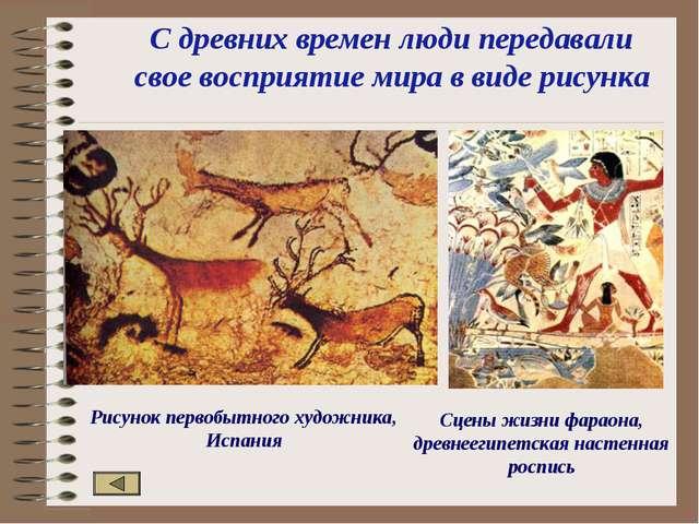 С древних времен люди передавали свое восприятие мира в виде рисунка Рисунок...