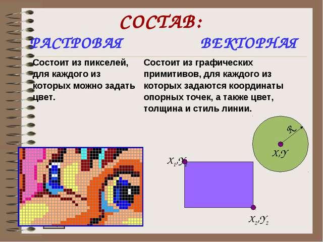 СОСТАВ: РАСТРОВАЯ ВЕКТОРНАЯ Состоит из пикселей, для каждого из которых можно...