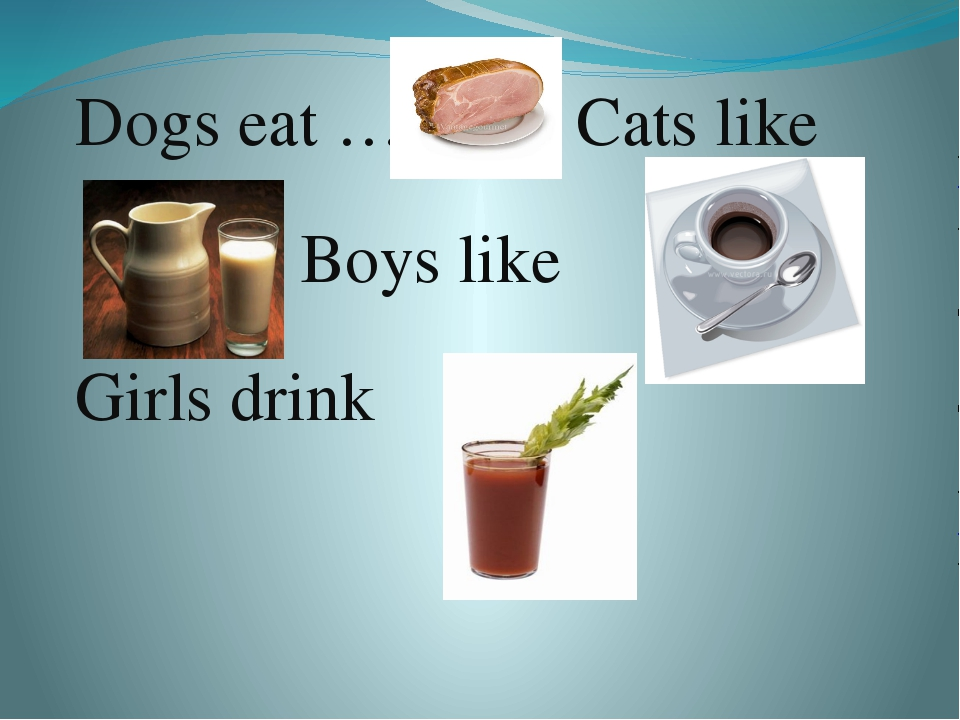 Dogs eat ………. Cats like . Boys like . Girls drink .