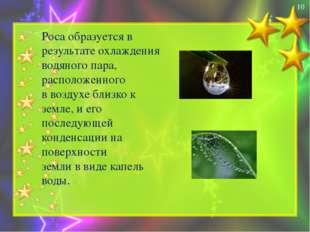Роса образуется в результате охлаждения водяного пара, расположенного в возд