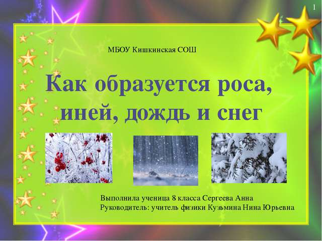 Как образуется роса, иней, дождь и снег МБОУ Кишкинская СОШ Выполнила учениц...