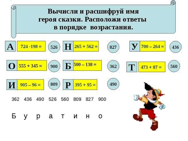 Вычисли и расшифруй имя героя сказки. Расположи ответы в порядке возрастания....