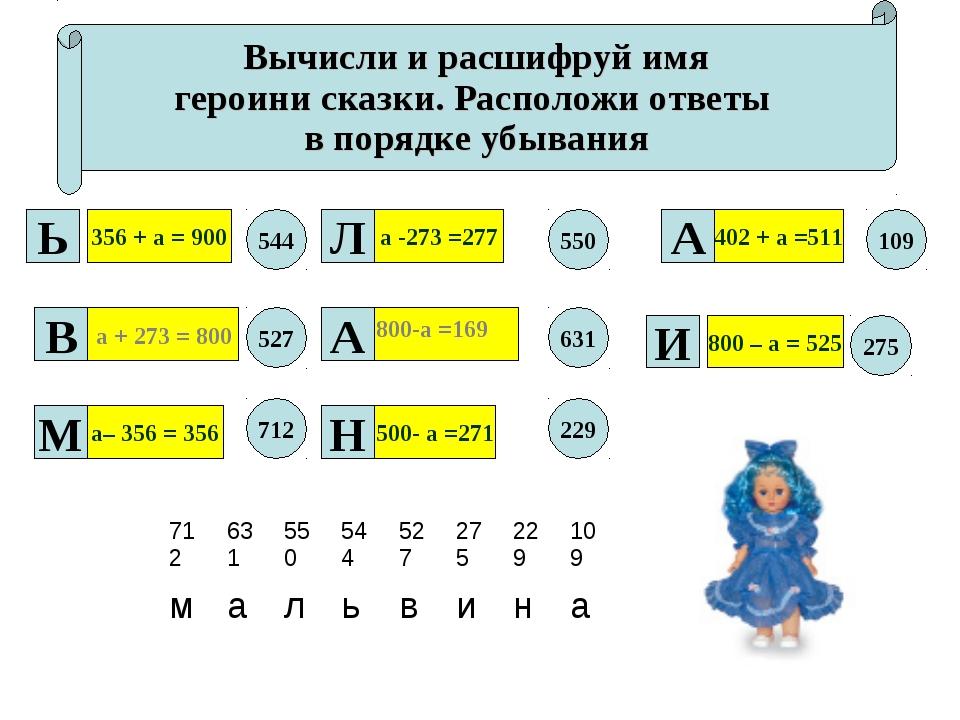 Вычисли и расшифруй имя героини сказки. Расположи ответы в порядке убывания 3...