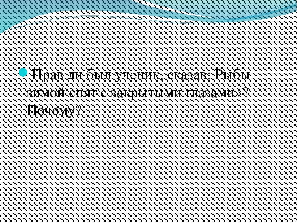 Прав ли был ученик, сказав: Рыбы зимой спят с закрытыми глазами»? Почему?