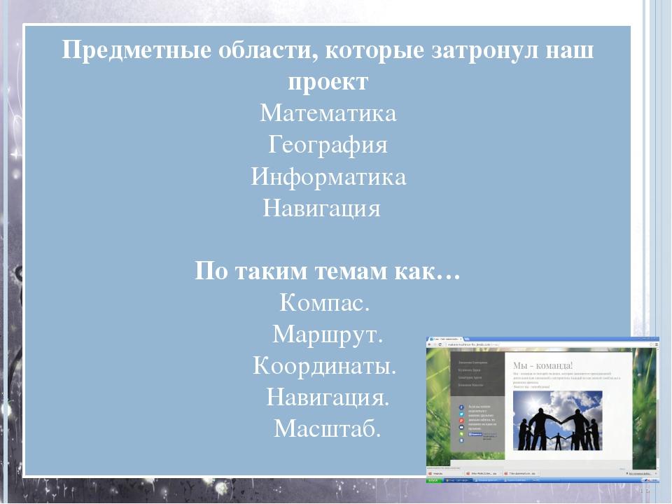 Предметные области, которые затронул наш проект Математика География Информат...