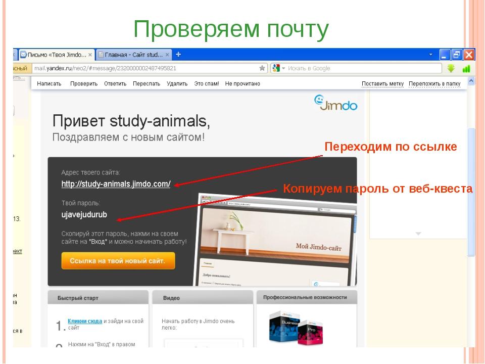 Переходим по ссылке Копируем пароль от веб-квеста Проверяем почту