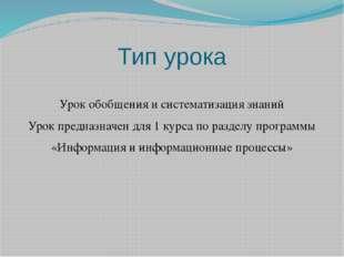 Тип урока  Урок обобщения и систематизация знаний Урок предназначен для 1 ку