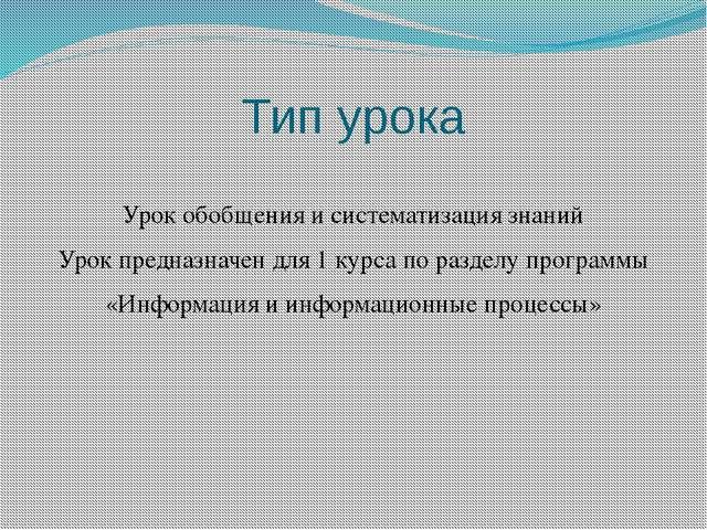 Тип урока  Урок обобщения и систематизация знаний Урок предназначен для 1 ку...