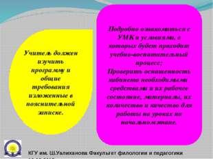 Учитель должен изучить программу и общие требования изложенные в пояснительно
