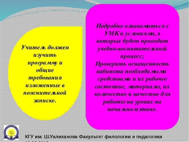 Учитель должен изучить программу и общие требования изложенные в пояснительно...