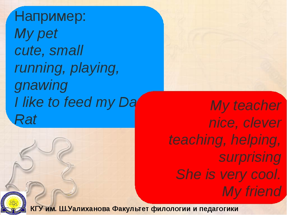 Например: My pet cute, small running, playing, gnawing I like to feed my Dan....