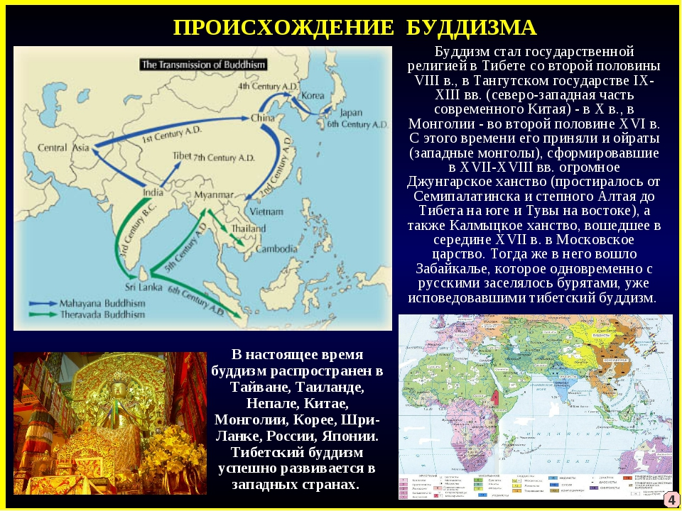 ПРОИСХОЖДЕНИЕ БУДДИЗМА Буддизм стал государственной религией в Тибете со втор...