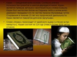 Коран — священная книга ислама. Согласно учению большинства суннитов и шиитов