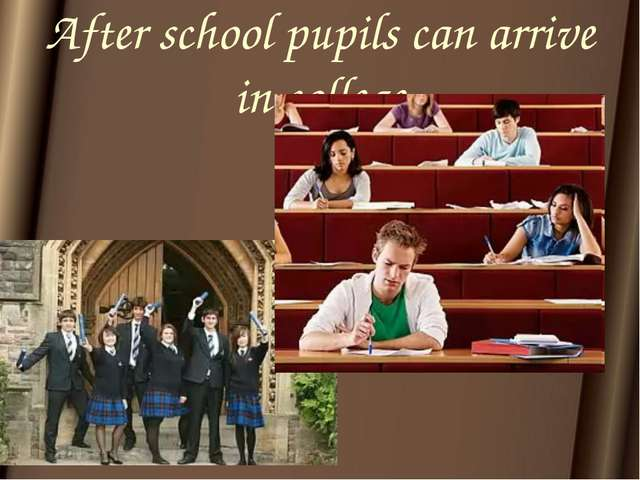 After school pupils can arrive in college
