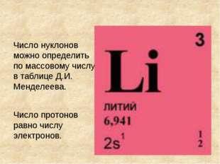 Число нуклонов можно определить по массовому числу в таблице Д.И. Менделеева