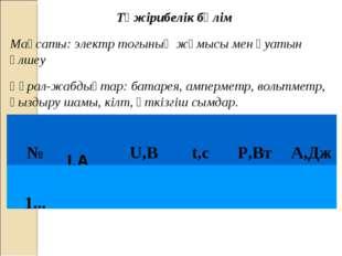 Тәжірибелік бөлім Мақсаты: электр тогының жұмысы мен қуатын өлшеу Құрал-жабды