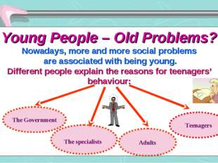 Young People – Old Problems? Nowadays, more and more social problems are asso